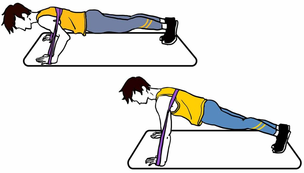 Push ups with resistance band